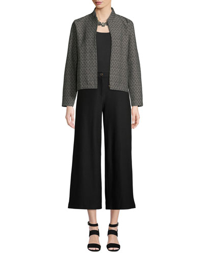 Rosette Jacquard Zip-Front Long-Sleeve Short Jacket and Matching Items