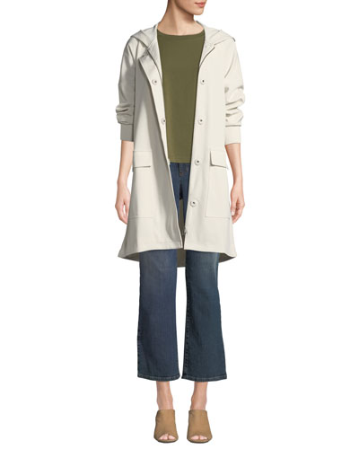 Hooded Long-Sleeve A-Line Rain Coat w/ Dual-Front Closure & Pockets, Petite and Matching Items