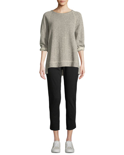 Boat-Neck 3/4-Sleeve Twisted Terry Organic Cotton Top and Matching Items