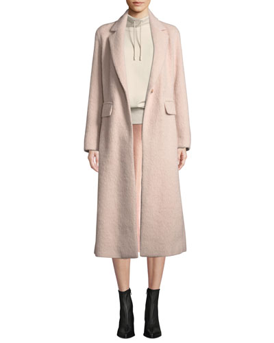 Belted Single-Button Wool-Blend Long Coat and Matching Items