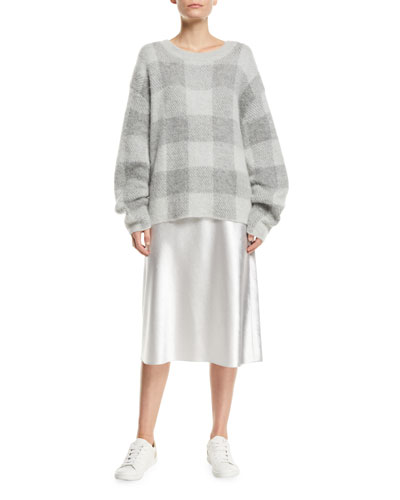 Plaid Crewneck Mohair-Blend Pullover Sweater and Matching Items