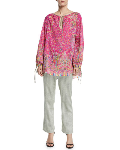 Micro-Floral Cotton Peasant Blouse and Matching Items