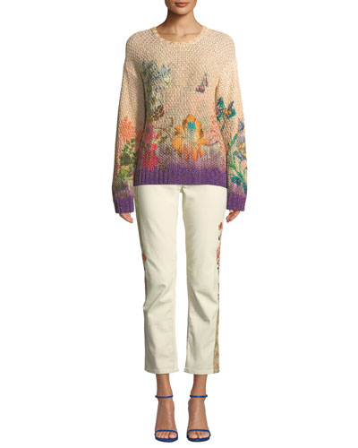 Ombre Floral Chunky-Popcorn Knit Sweater and Matching Items