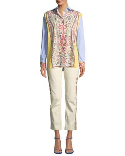 Striped & Floral Stretch-Cotton Button-Front Blouse and Matching Items