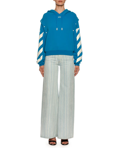 Diagonal-Striped Sleeve Sweatshirt and Matching Items