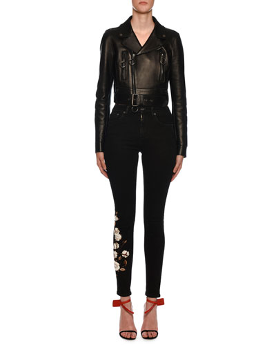Embossed-Back Leather Biker Jacket and Matching Items