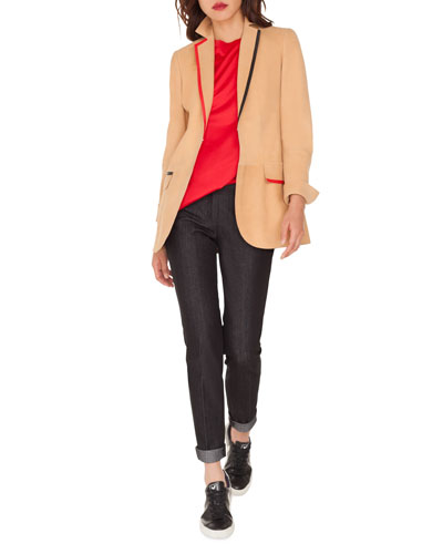 Adya Lamb Suede Contrast-Trim Blazer and Matching Items