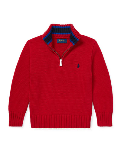 Combed Cotton Half-Zip Pullover Sweater, Size 2-4