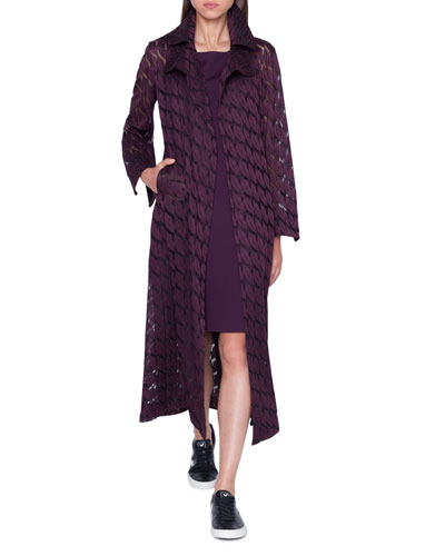 Babylon Long Coat with Lips Embroidery and Matching Items