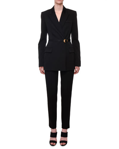 Long Belted Stretch-Wool Tuxedo Jacket and Matching Items