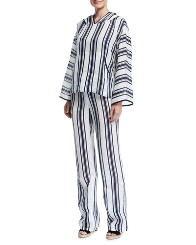 Awning Stripe Linen Coverup Hoodie and Matching Items