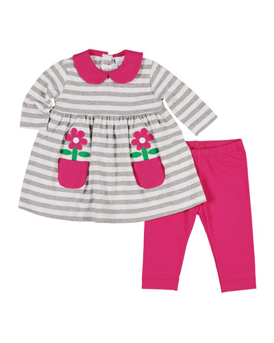 Striped Flower-Pocket Dress w/ Matching Leggings, Size 3-24 Months  and Matching Items