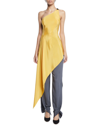 Roxby One-Shoulder Long Draped Tunic and Matching Items