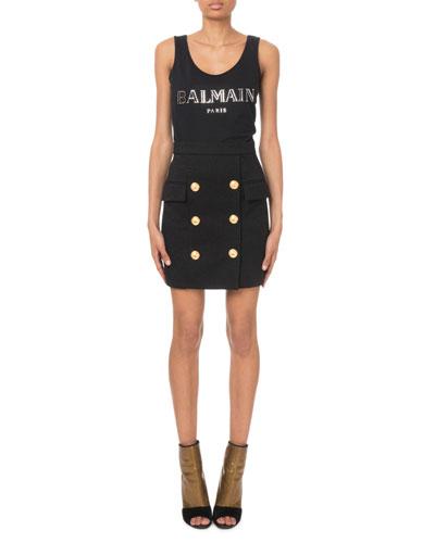 Glitter Crepe Six-Button Mini Skirt and Matching Items