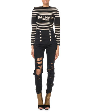 8b060df7962 Balmain High-Waist Eight-Button Destroyed Skinny Jeans Long-Sleeve  Golden-Striped