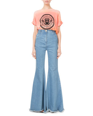 8213f041 Balmain Short-Sleeve Tie-Dye Coin Logo Tee High-Waist Flare-Leg
