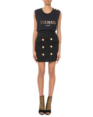 3bd0df5ccd1 Balmain Button-Shoulder Golden Logo Muscle Tee Glitter Crepe Six-Button  Mini Skirt