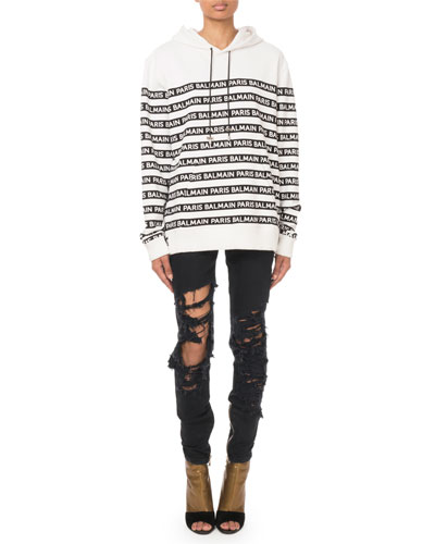Oversized Logo-Striped Hooded Sweatshirt and Matching Items