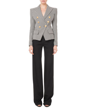 d2d22731ec6 Balmain Double-Breasted Golden-Button Houndstooth Blazer High-Rise  Front-Zip Straight
