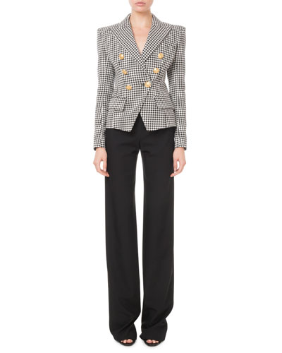 Double-Breasted Golden-Button Houndstooth Blazer and Matching Items