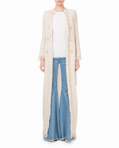 Fringed Checkered-Tweed Maxi Jacket and Matching Items