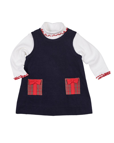 Pocket Full of Presents Corduroy Dress w/ Ruffle-Trim Turtleneck Top, Size 12-24 Months  and Matching Items
