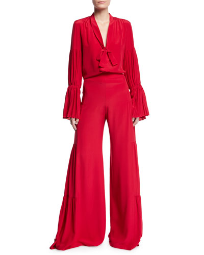 Talley Shirred Wide-Leg Silk Pants and Matching Items