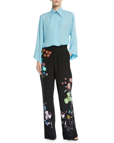 Asymmetric Silk Collared Blouse and Matching Items