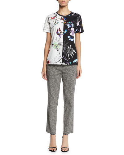 Embroidered Short-Sleeve Tropical-Floral T-Shirt and Matching Items