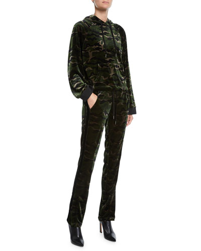 Camo-Print Velour Pullover Hoodie and Matching Items