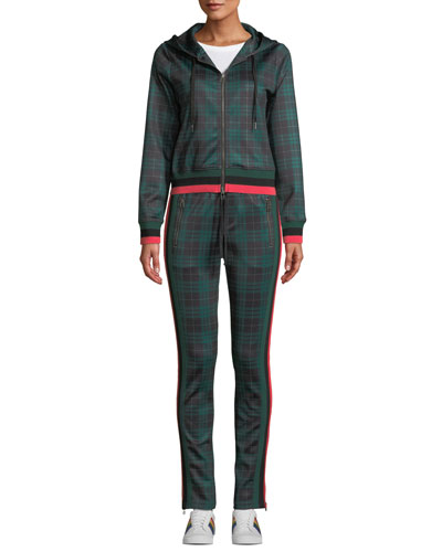 Stewart Hooded Plaid Cropped Track Hoodie Sweater and Matching Items