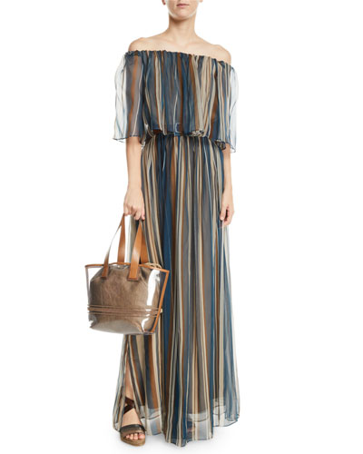 Off-The-Shoulder Striped Organza Gown and Matching Items