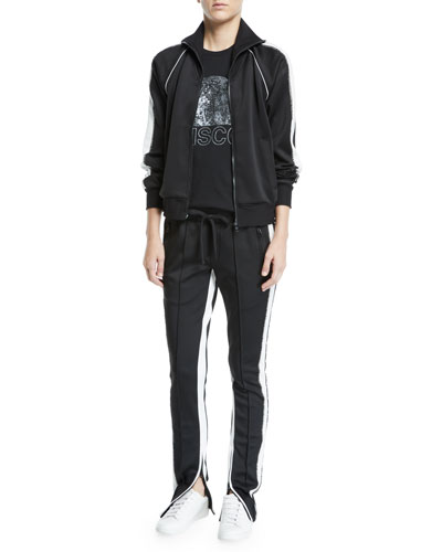 Embellished Zip-Front Track Jacket with Racer Stripes and Matching Items