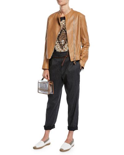 Shawl-Collar One-Button Linen-Cotton Blazer w/ Monili Trim and Matching Items