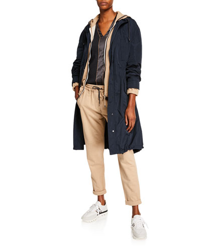 Taffeta Zip-Front Hooded Coat and Matching Items