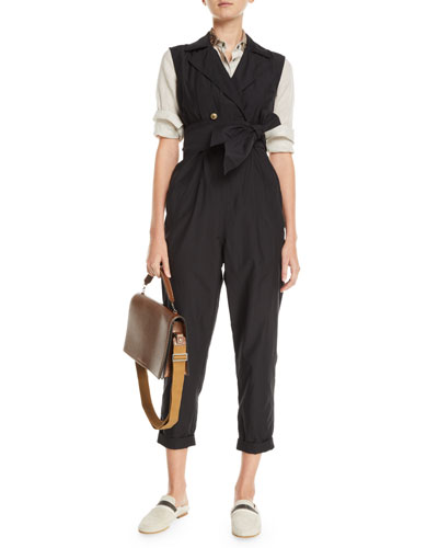 Sleeveless Double-Breasted Cotton-Silk Jumpsuit and Matching Items