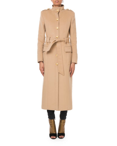 Long Belted Wool-Cashmere Military Coat and Matching Items