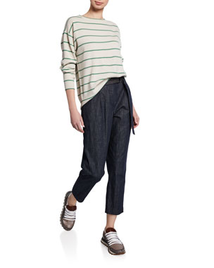 c5e92dae3fe02 Brunello Cucinelli Striped Wool-Cashmere Crewneck Sweater Denim  Straight-Leg Pants w D