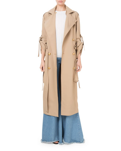 Golden-Button Cargo-Pocket Trench Coat and Matching Items