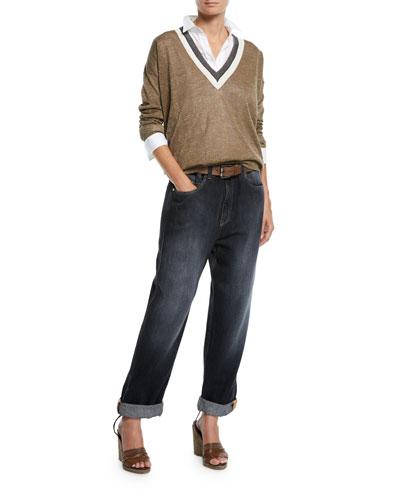 Long-Sleeve Button-Front Cotton Poplin Shirt w/ Monili Pocket and Matching Items