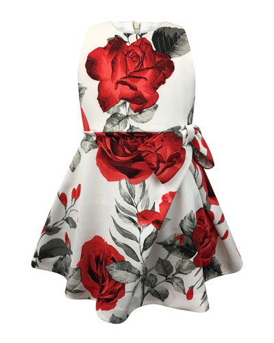 Rose-Print Bow Dress, Size 2-6  and Matching Items