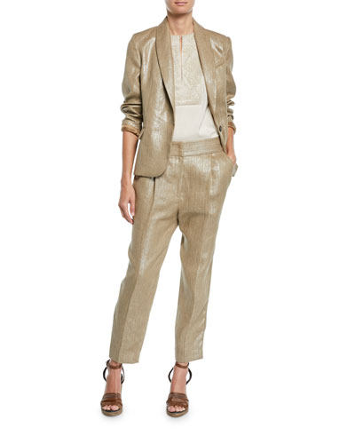 Metallic-Linen One-Button Blazer Jacket and Matching Items