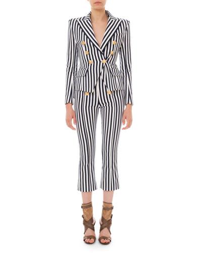 Striped Six-Button Cotton Blazer and Matching Items