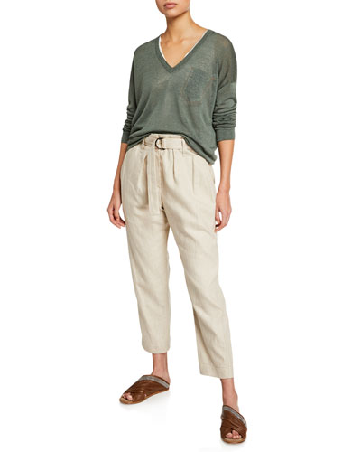 Linen Knit Long-Sleeve V-Neck Sweater with Monili Pocket and Matching Items