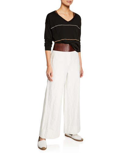 Shimmered Cotton-Knit Scoop Neck Top and Matching Items