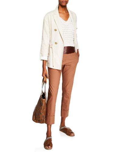 Straight-Leg Crop Barrel-Cuff Cotton Twill Pants and Matching Items