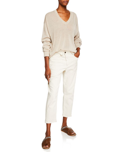 Crossover Straight-Leg Cropped Pants and Matching Items