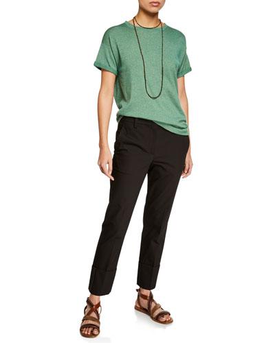 Crewneck Short-Sleeve Cashmere Lurex® T-Shirt and Matching Items