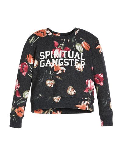 Tulip-Print Logo Crewneck Sweatshirt, Size 6-14  and Matching Items