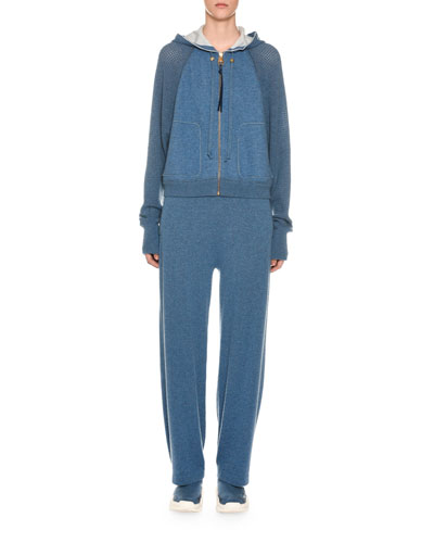 Cashmere Netted-Sleeve Zip-Front Hoodie and Matching Items